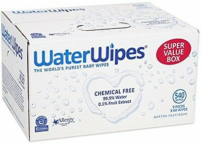 WaterWipes Sensitive Baby Wipes, Natural and Chemical-Free, 9 Packs Of 60 Count