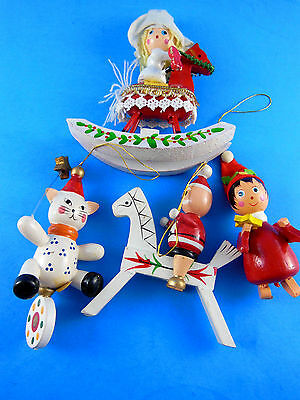 4 Vintage Wooden Christmas Tree Ornaments rocking horse cat unicycle boy w star