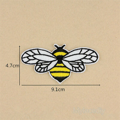 Bee Embroidered Sew Iron On Patch Badge Fabric Bag Clothes Applique Lace Trim