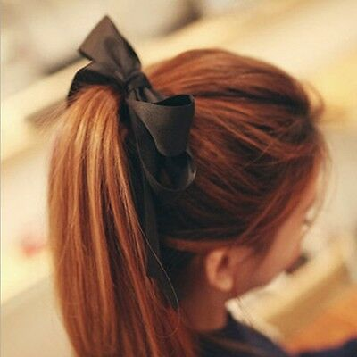 Womens Gril Satin Ribbon Bow Hair Band Rope Scrunchie Ponytail Holder