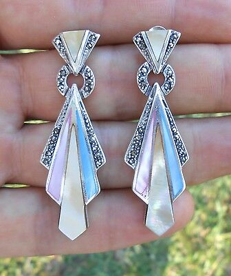 """Art Deco Estate Mother Of Pearl & Marcasite 925 Sterling Silver Earrings 2"""" Wow!"""