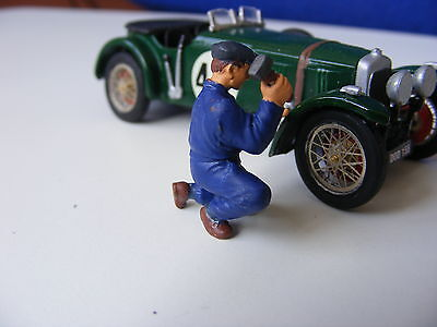 Mechanic with Hammer Working on Car - 1:43 Finished White Metal Figure