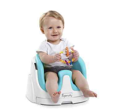 Baby Base 2-in-1 Seat Portable Infant Toddler Safety Child Chair Blue with Tray