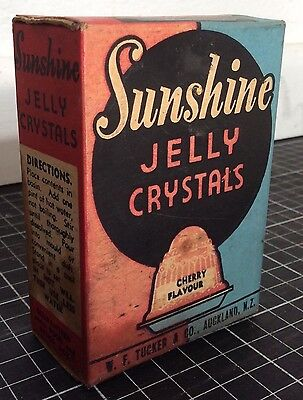 Vintage SUNSHINE JELLY CRYSTALS BOX Australian NZ grocery advertising packet