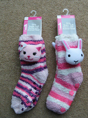 New, Tags Girls Pink Stripy Striped Slipper Socks One Size Cat or Rabbit Design