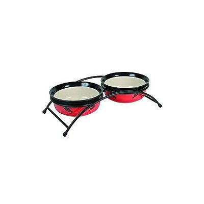 Set ecuelles Eat On Feet avec support, 2 × 0,25 l/ø 12,5 cm, rouge/noir/creme