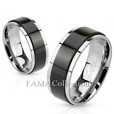Quality FAMA Stainless Steel Ring with Black IP Spinning Centre Band Size 5-14