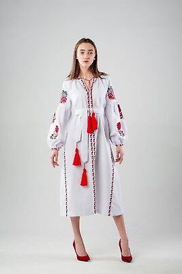 Ukrainian boho embroidered dress, folk style, bohemian vyshyvanka, 4 colours
