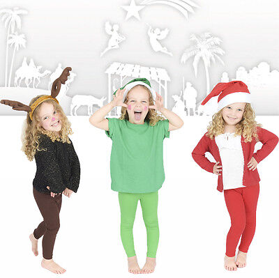 Childrens Full Length Leggings Kids Nativity Christmas