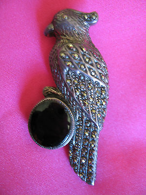 Old Antique Ladies Marcasite & Sterling Silver Parrot Brooch FREEPOST