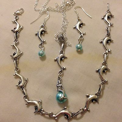 "Mermaid/dolphin Blue Pearl,Pendant/22""ster Sil Chain/925earings/anklet/boxed."