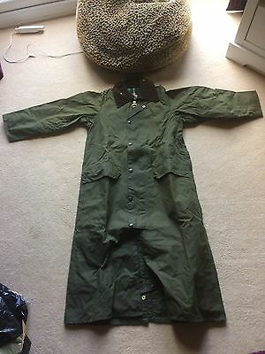 """Barbour Burghley Green Wax Country Coat Size XS 34"""" - Excellent Condition"""
