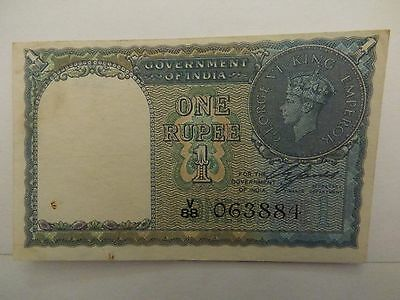 Bank note.Lovely 1 Rupee note depicting George V1-India-1940