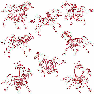 HORSES * Machine Embroidery Redwork Patterns * 8 designs
