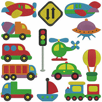 TRANSPORTATION * Machine Embroidery Patterns * 14 designs in two sizes