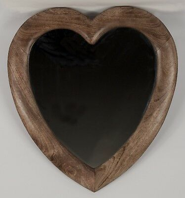 Wooden Large Love Heart Wall Mirror 58 X 52Cm Mango Wood Frame Wall Hanging