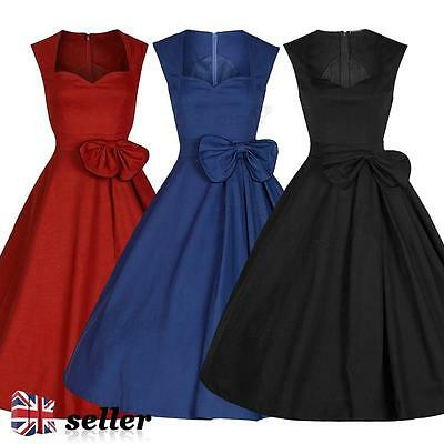Womens 1950s 40s Vintage Dress Audrey Style Rockabilly Retro Party Swing Skater