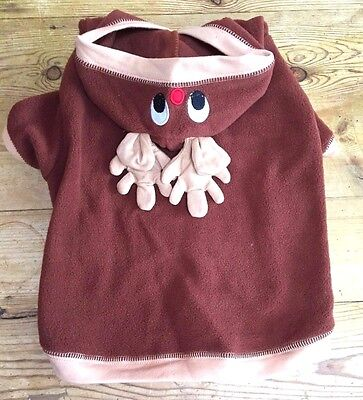 Rudolf Reindeer Dog Outfit Costume Clothes Christmas Pet Cat Coat Sweaters