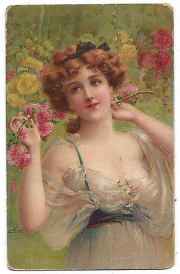 EMILE VERNON Beautiful Young Lady in Revealing Dress Postally Used Postcard