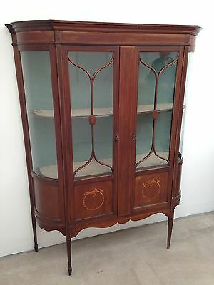 Edwardian Mahogany Inlaid Display Cabinet w/ Curved Glass Panels Local Delivery