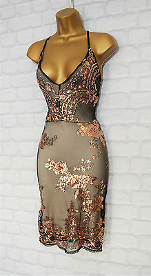 ~PERINA~ Black & Gold Sequin Lace Bodycon Evening Party Dress 6 8 10 12 14 16