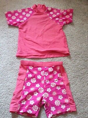 Baby Girls Pink Flowers Two Piece Uv Sun Suit Swimming Costume - 9-12 Months