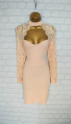 ~AMYA~ Nude Lace Bodycon Evening Mini Pencil Wiggle Party Dress 8 10 12 14