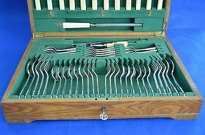 Vintage James Dixon & Sons Silver Plate Canteen of Cutlery - Dubarry 55 Pieces