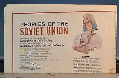 Peoples of the Soviet Union 1976 National Geographic Magazine Folded Map