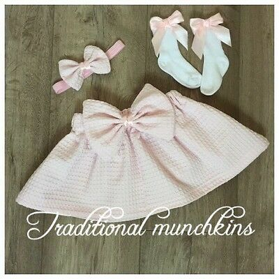Spanish Inspired  Baby Girls Outfit Pink Waffle  Skirt, And Head Band