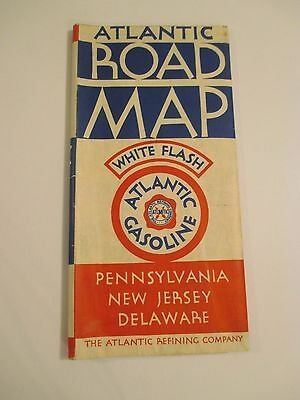 Vintage ATLANTIC WHITE FLASH PENN NJ DE Gas Station Road Map~1930's?