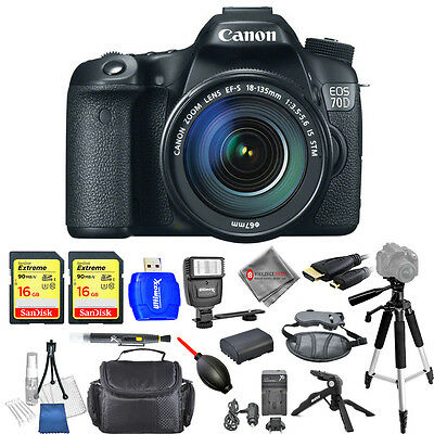 Canon EOS 70D DSLR Camera W/ 18-135mm f/3.5-5.6 STM Lens!! PRO KIT USA MODEL NEW