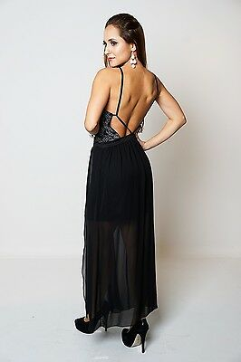 Black Silver Contrast Shimmer Velour Front Slit Chiffon Style Overlay Maxi  x 7