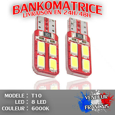 6 Veilleuse Led W5W T10 Canbus Anti Erreur Odb Blanc Pur 6000K Xenon 8 Smd