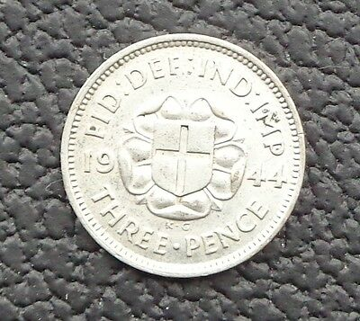 RARE 1944 GEORGE VI SILVER THREEPENCE 3d -Unc or very near so