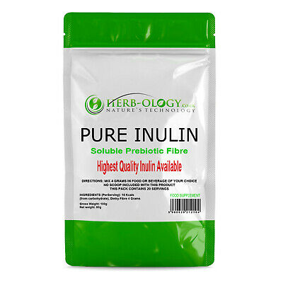 Pure Inulin Powder Soluble Prebiotic Fibre Herb-ology Herbology 20 Servings