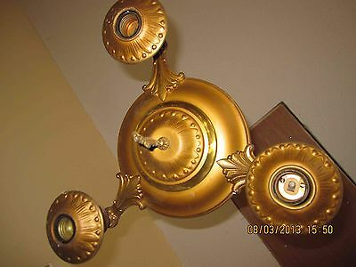 Art Deco Vintage 3 Bulb Pan Light Chandelier Brass Original