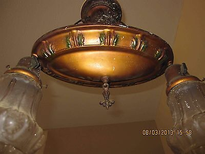 Art Deco 2 Bulb Vintage Brass Pan Light with Globes Painted Accents all Original