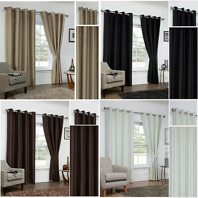 CLEARANCE - Faux Silk 3 Pass Coated THERMAL BLACKOUT Eyelet Unlined Curtains