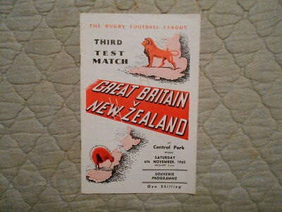 Great Britain V New Zealand Rugby League 3Rd Test Match Programme 1965