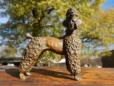 Antique French Bronze Poodle Dog Figurine,solid bronze ( 2,2 lbs ) ,circa 1900
