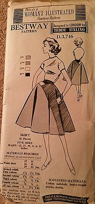 "Vintage 50s Rockabilly skirt   couture Sewing Pattern 25"" waist VGC unused"
