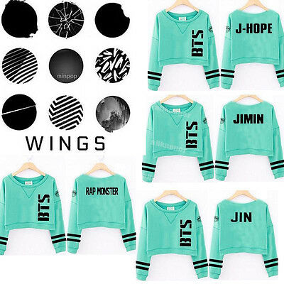 Kpop BTS Sweater Wings Mint Green Cropped  Hoodie Jung Kook Suga J-Hope JIMIN V