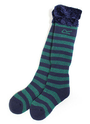 Regatta Fur Collar Warm Cosy Brushed Wellington Sock Green 13-2