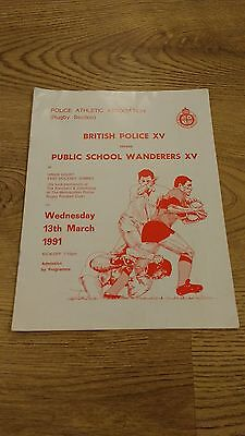 British Police v Public School Wanderers 1991 Rugby Union Programme