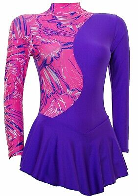 Skating Dress - Pink Multi Hologram/Purple Lycra  Zoom (S999)