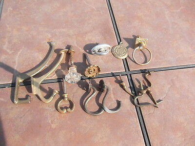 Lot Vintage Hat Hooks, Mirror Turn Knobs and Other Hardware