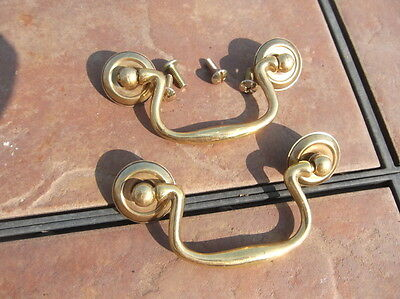 Pair of Chippendale Solid Brass Drawer Handles  3 inch centers