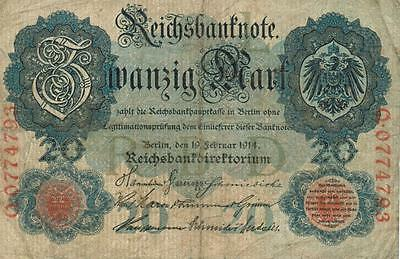 Authentic 20 Reichsmark note from Germany 1914 German Empire, 213