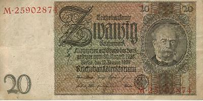 100% Authentic 20  German Reichsmark note from WW 2 1929, P0099